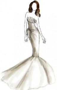 Эскиз свадебного платья Анджелины Джоли.